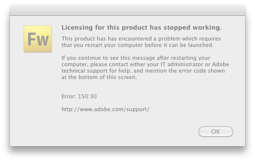 Adobe Licensing Error: 150:30